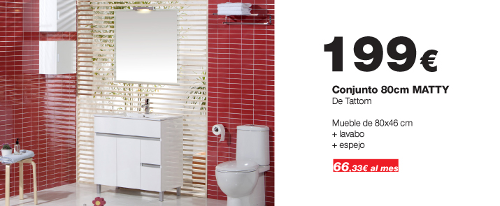 Mueble De Baño Xacobeo:Mueble de baño Matty de Tattom de 80cm en color blanco